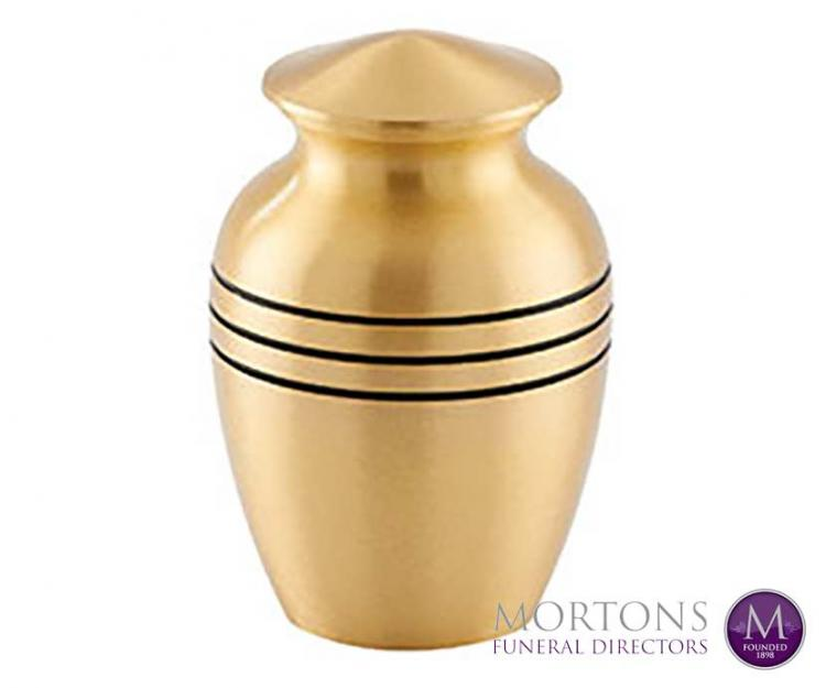 Metal urns from Mortons Funeral Directors
